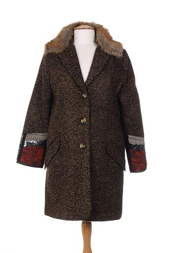 bleu blanc rouge manteaux femme de couleur marron