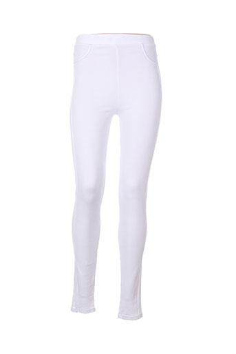 janira pantalons femme de couleur blanc