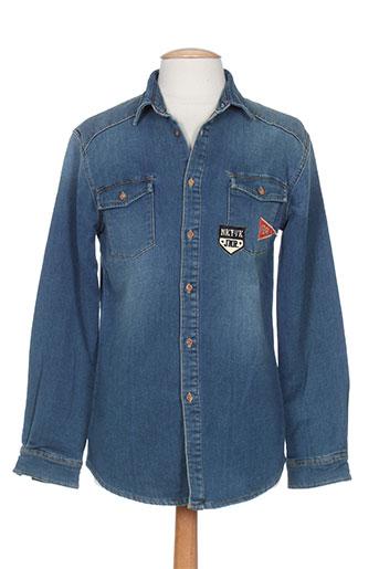 nukutavake chemises garçon de couleur bleu