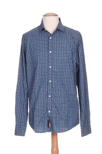 r.a.w. recycled art world chemises homme de couleur bleu
