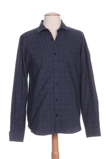 ontour chemises homme de couleur bleu
