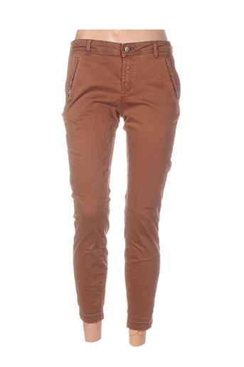 yaya pantalons femme de couleur marron