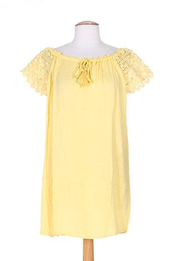 Blouse manches courtes jaune FREE MINDS.. pour femme