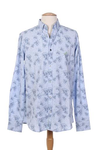 jn-joy chemises homme de couleur bleu