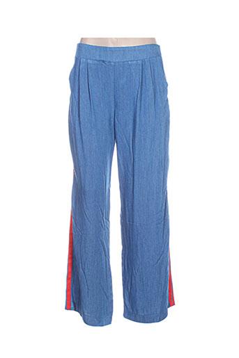 atelier jad pantalons femme de couleur bleu