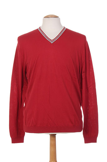 Pull col V rouge MONTE CARLO pour homme
