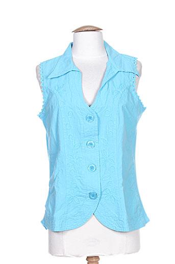 la cotonnière chemises femme de couleur bleu