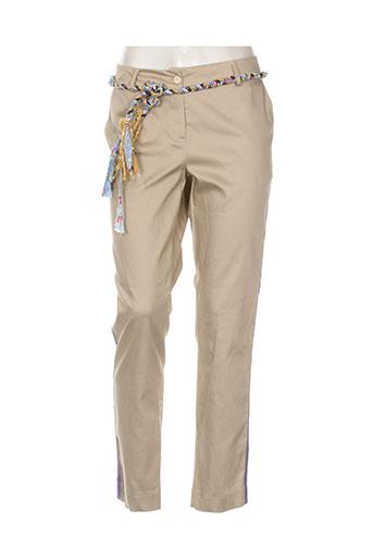 think chic pantalons femme de couleur beige