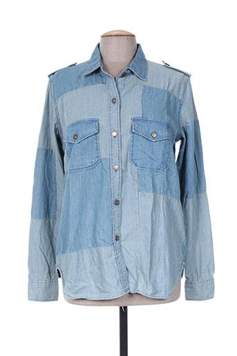 reiko chemises femme de couleur bleu