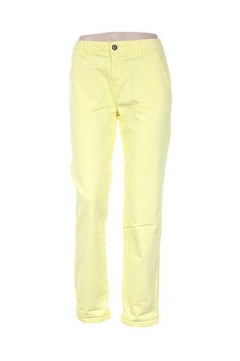 reiko pantalons femme de couleur jaune