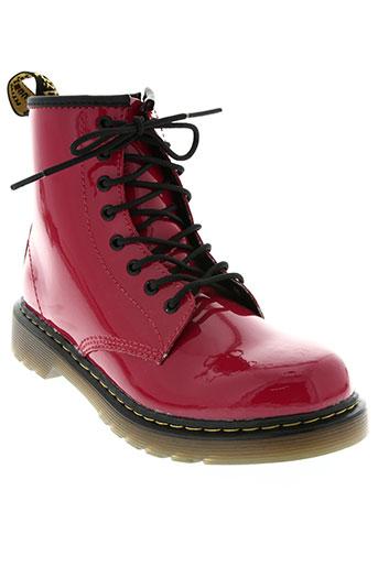 dr martens chaussures fille de couleur rouge