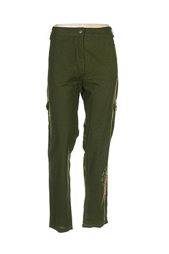 colline pantalons femme de couleur vert