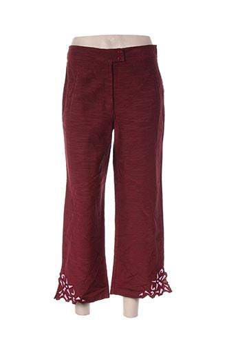 ishwar pantalons femme de couleur rouge
