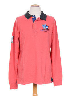 Polo manches longues rose CAMBE pour homme