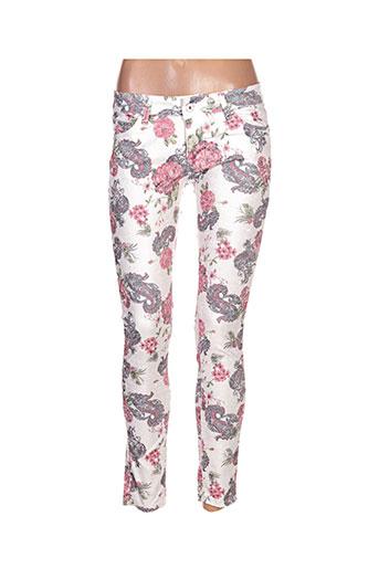 jeans pantalons femme de couleur blanc
