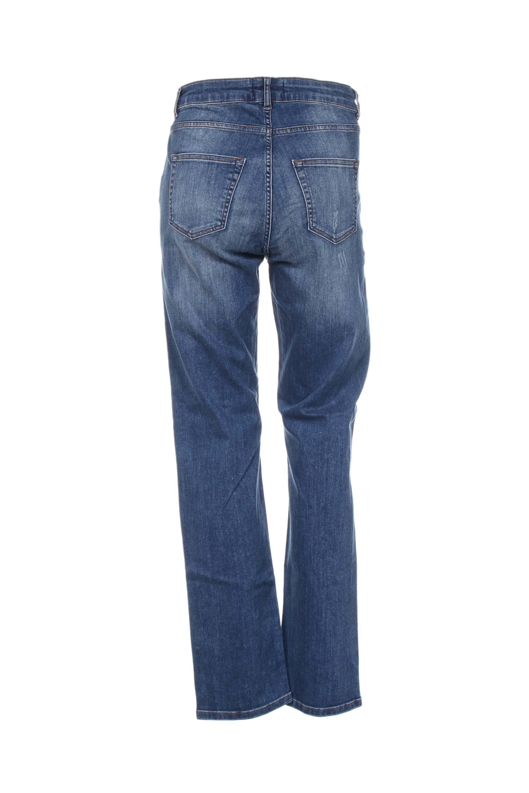 Aprico Jeans Coupe Droite Femme De Couleur Bleu En Soldes Pas Cher 1143791-bleu00