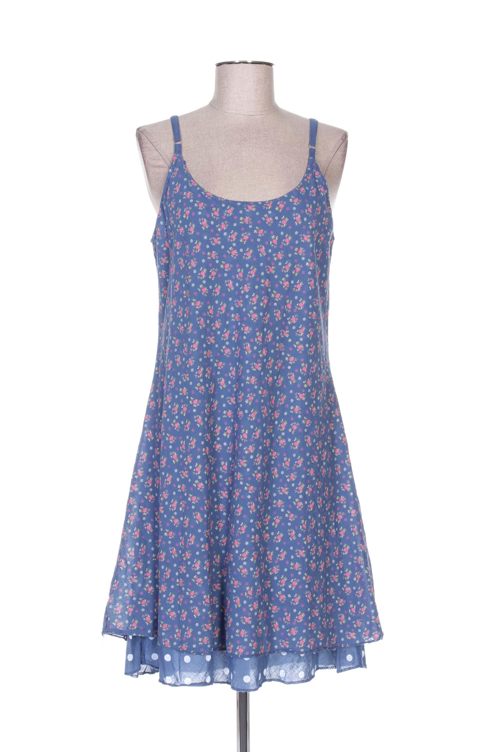 4b4d27472d4ed9 TALIA BENSON Robes Robes mi-longues de couleur bleu en soldes pas cher  1141397-bleu00 - Modz