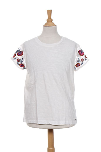 teddy smith t-shirts fille de couleur blanc