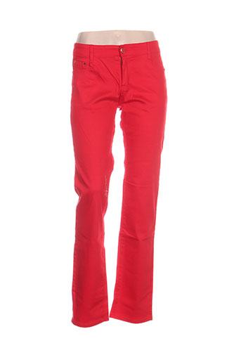 jeans wear pantalons femme de couleur rouge