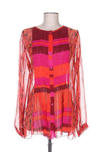 antik batik chemises femme de couleur orange
