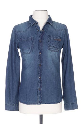 japan rags chemises garçon de couleur bleu