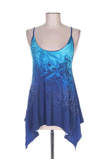 desigual t-shirts femme de couleur bleu