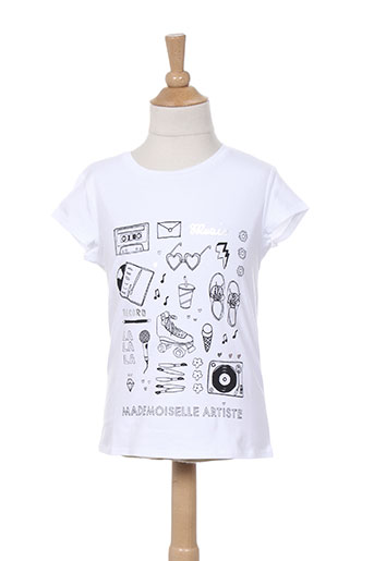jean bourget t-shirts fille de couleur blanc
