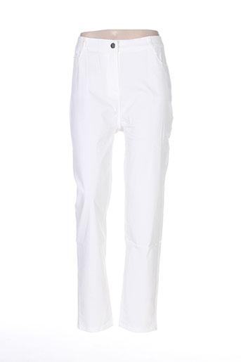 luizacco pantalons femme de couleur blanc