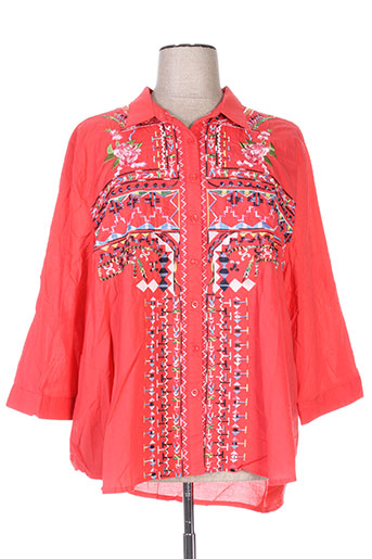 piment rouge chemises femme de couleur rose