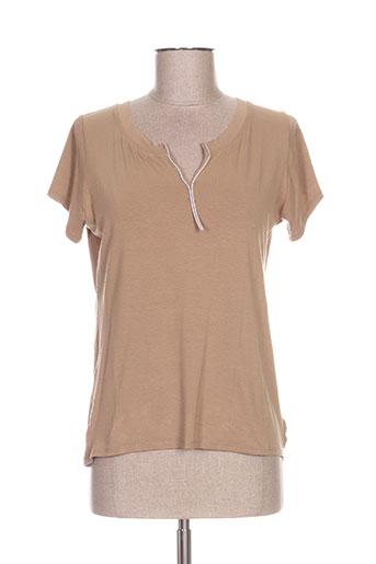 poissons blancs t-shirts femme de couleur marron