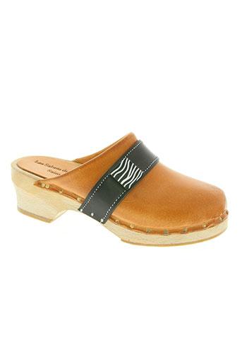 les sabots de quatuor chaussures femme de couleur marron