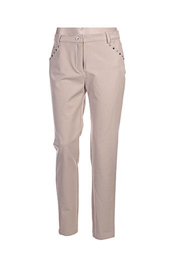 bleu d'azur pantalons femme de couleur beige