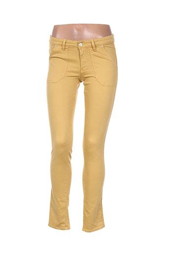 ikks pantalons femme de couleur jaune
