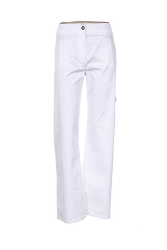 pause cafe pantalons femme de couleur blanc