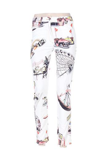 tricot chic pantalons femme de couleur blanc