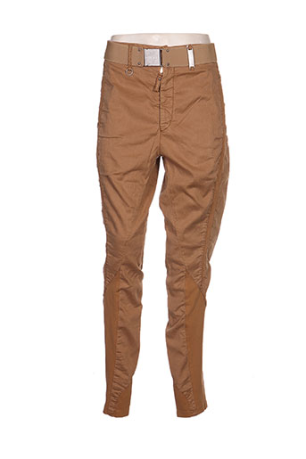 ichi pantalons femme de couleur marron