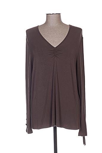 T-shirt manches courtes marron FRED SABATIER pour femme