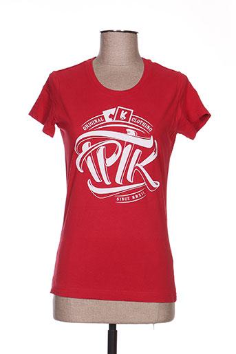 T-shirt manches courtes rouge TPTK pour femme