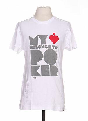T-shirt manches courtes blanc TPTK pour femme