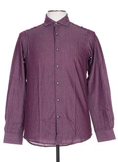 Chemise manches longues violet GRIFFE NOIRE pour homme
