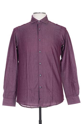 griffe noire chemises homme de couleur violet