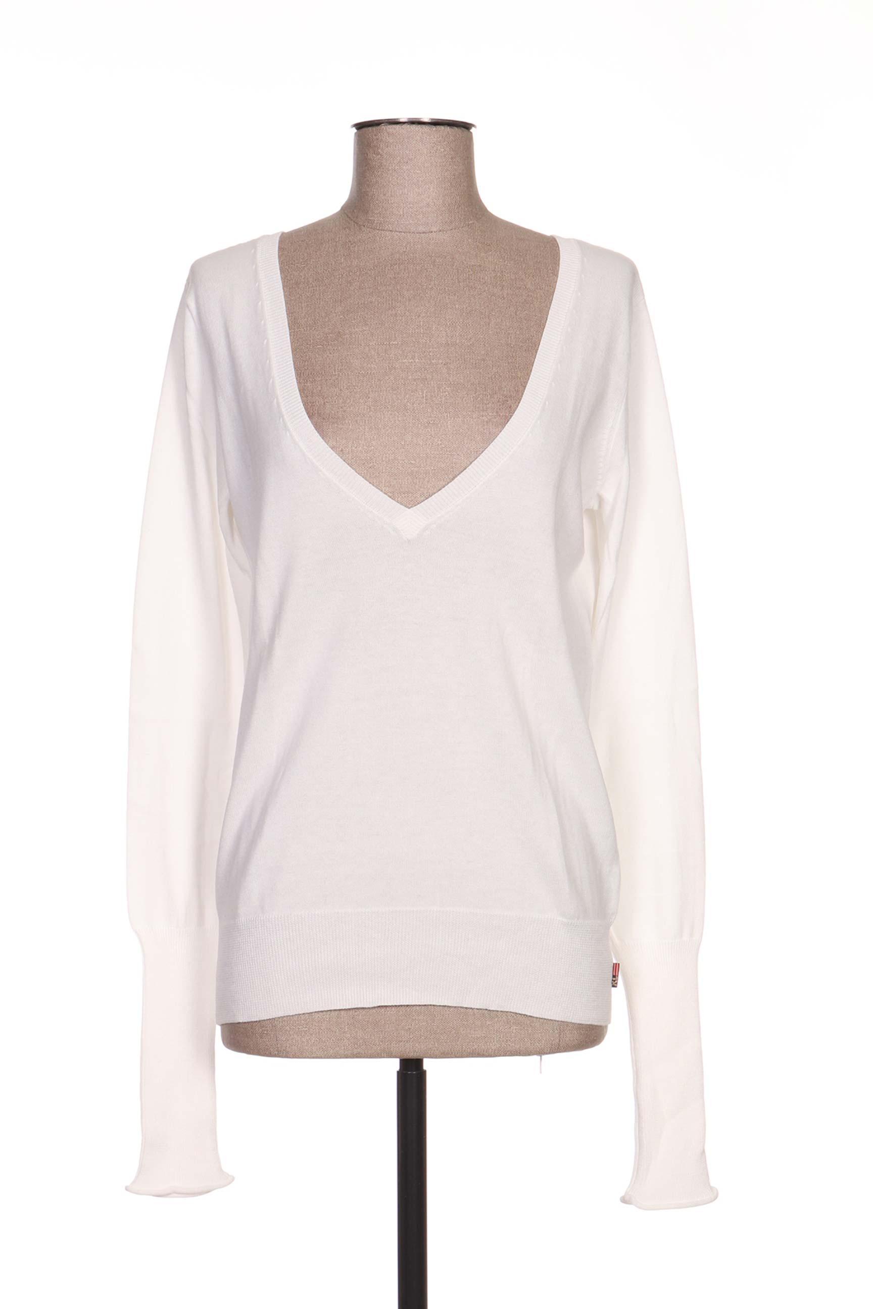 Ralph Lauren Cols V Femme De Couleur Blanc En Soldes Pas Cher ... 2a1c80cad252