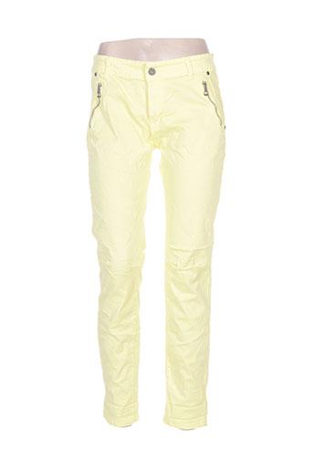 lacomy pantalons femme de couleur jaune