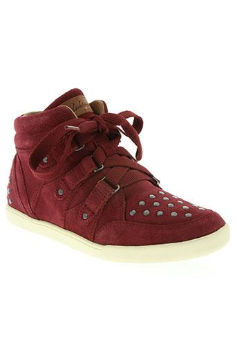 redskins chaussures femme de couleur rouge