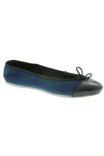 the french touch chaussures femme de couleur bleu
