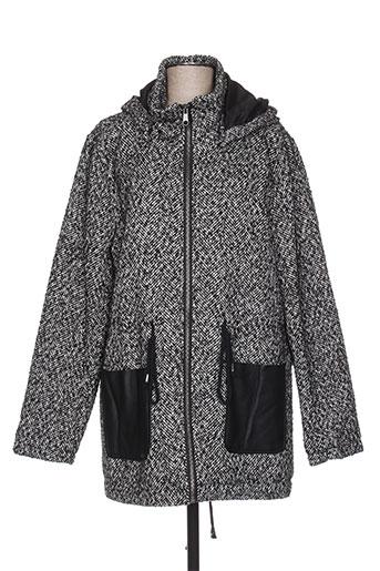 Manteau long noir ICHI pour femme