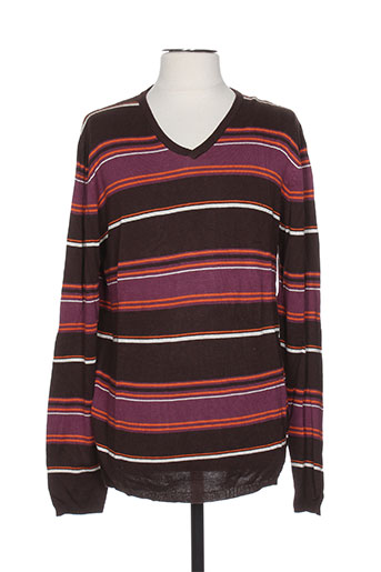 Pull col V marron TEDDY SMITH pour homme