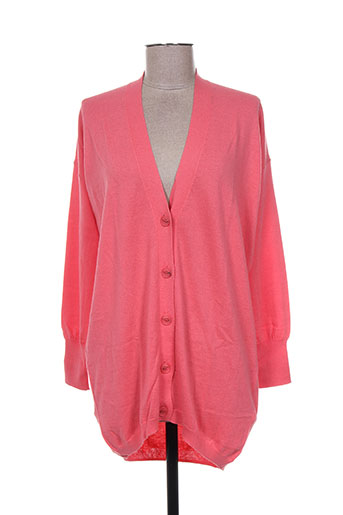Gilet manches longues rose ALLUDE pour femme