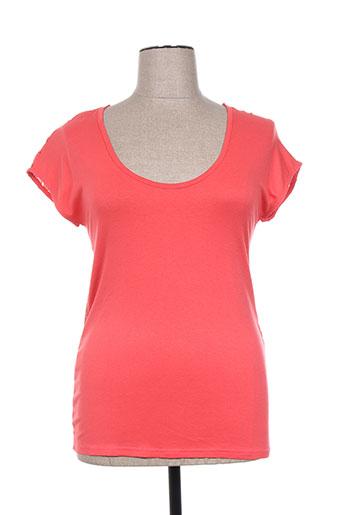 T-shirt manches courtes rouge VIE NOCTURNE pour femme