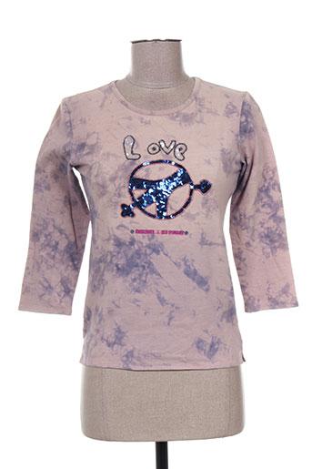 T-shirt manches longues violet DOUBLE ONE PEACE pour femme